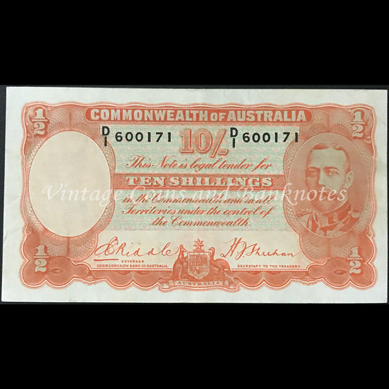 1936 Riddle Sheehan Ten Shillings George V VF