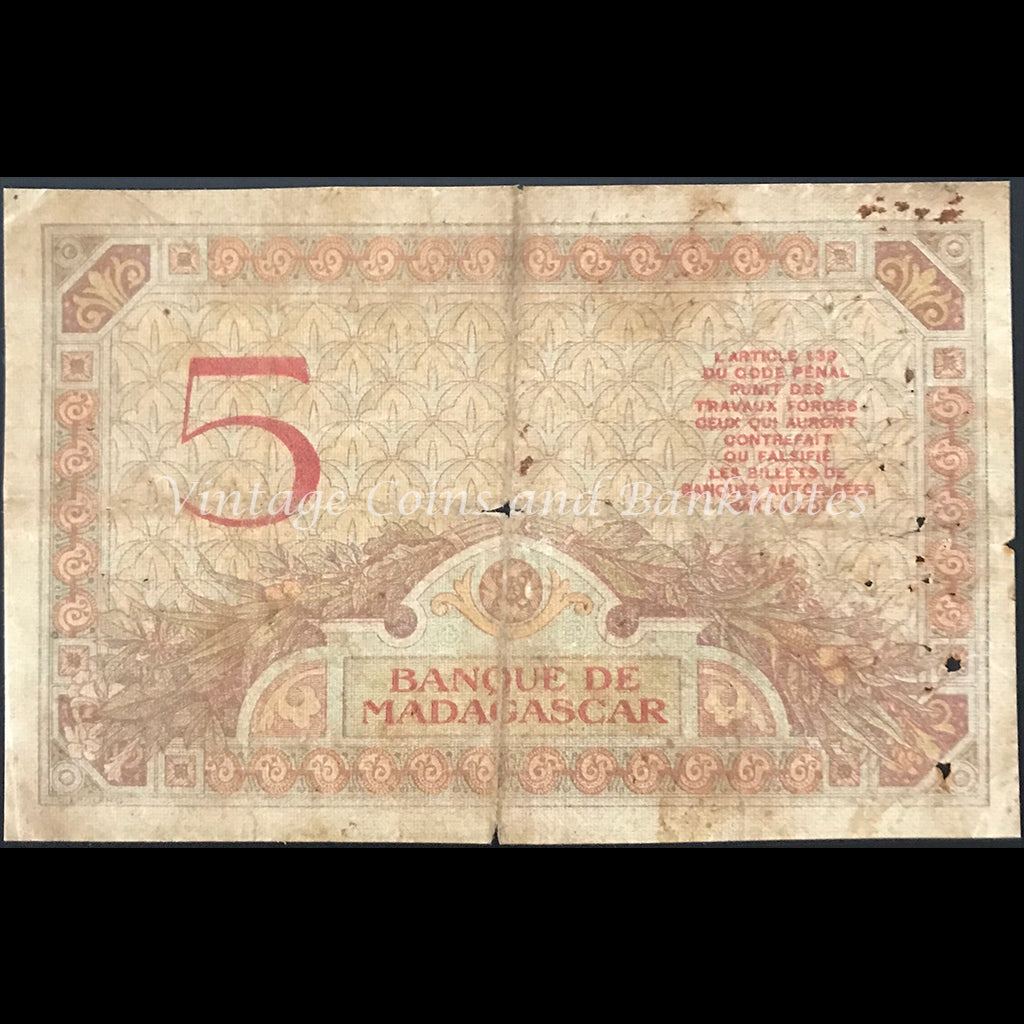 Madagascar ND (ca. 1937) 5 Francs VG