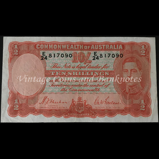 1939 Sheehan McFarlane Ten Shillings George VI aVF