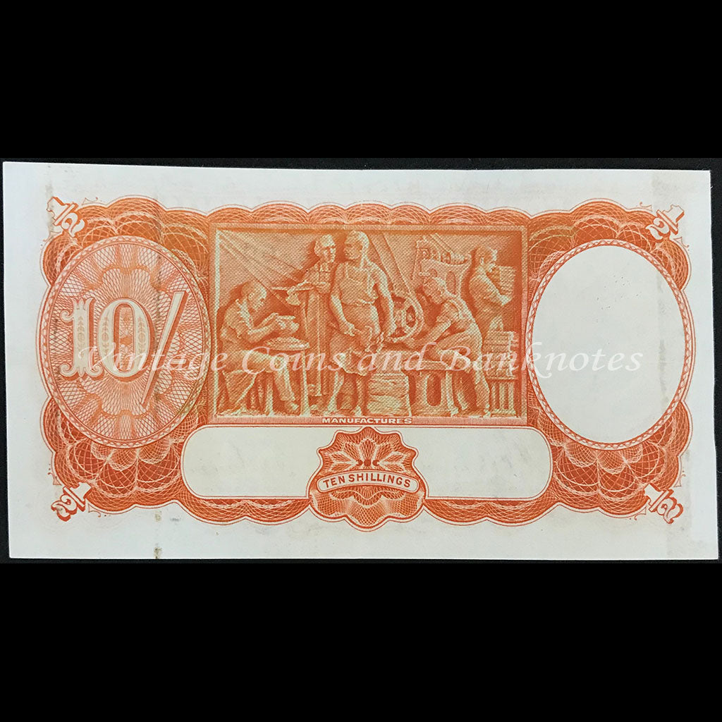 1939 Sheehan McFarlane Ten Shillings Last Prefix F/24 Low Number Serial 000071 EF