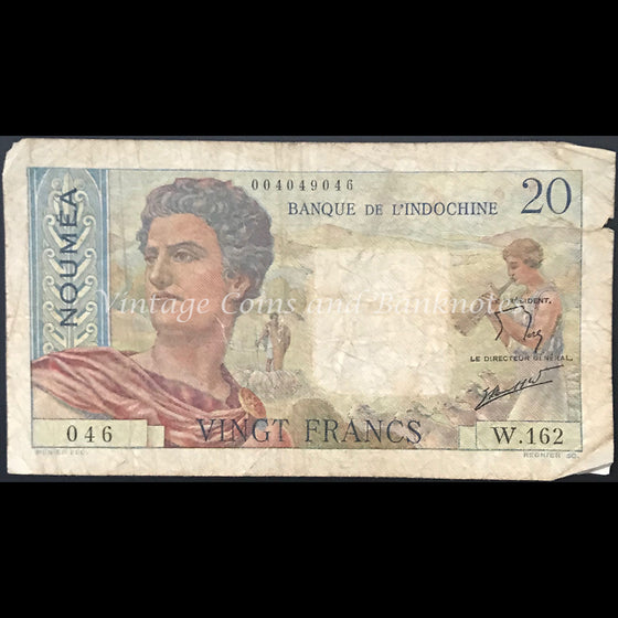New Caledonia (New Hebrides) ND (1941-45) 20 Francs VG
