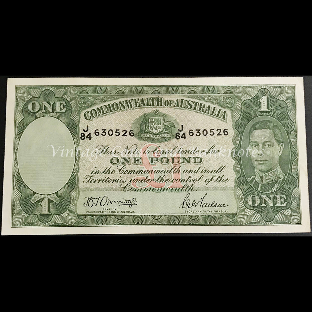 1942 Armitage McFarlane One Pound George VI aUNC