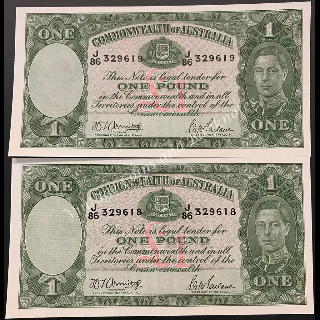 1942 Armitage McFarlane One Pound George VI Consecutive Pair UNC