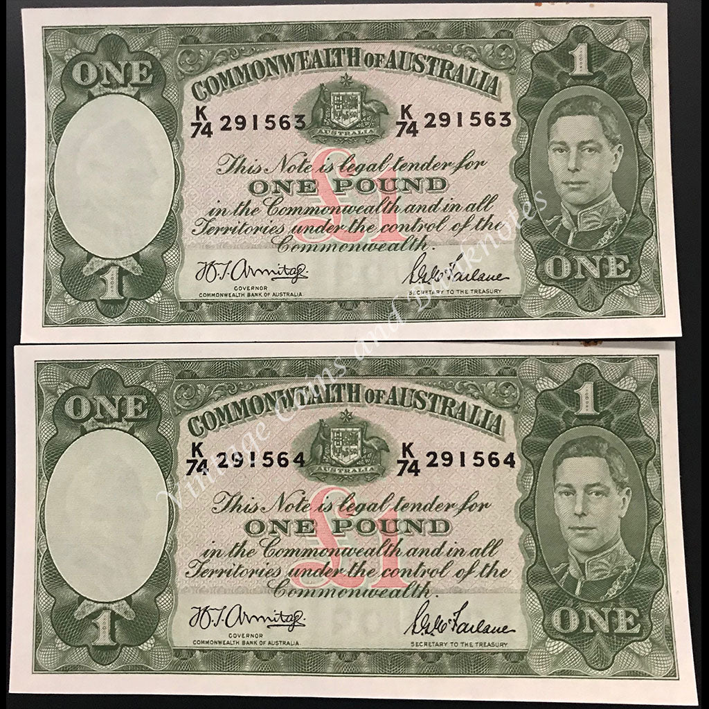 1942 Armitage McFarlane One Pound George VI Consecutive Pair gEF+