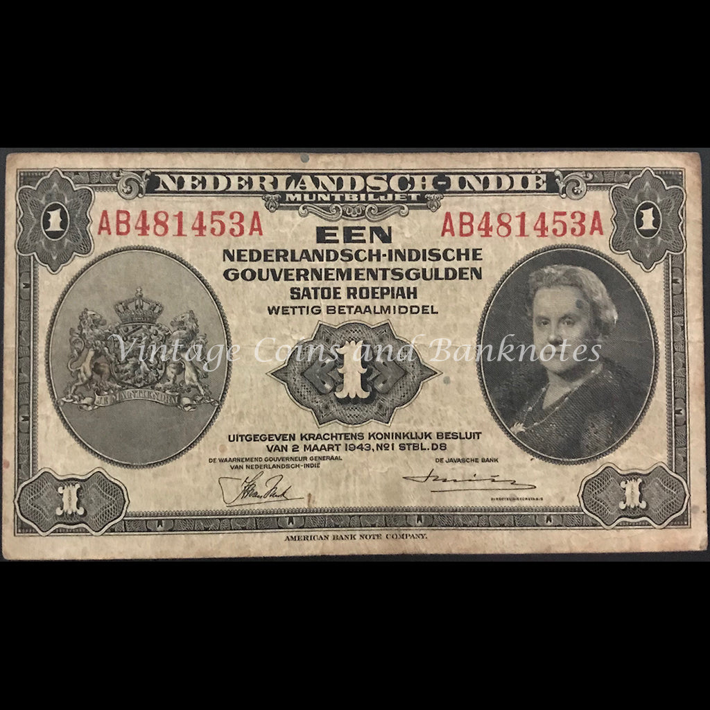 Netherlands Indies 1943 1 Gulden FINE