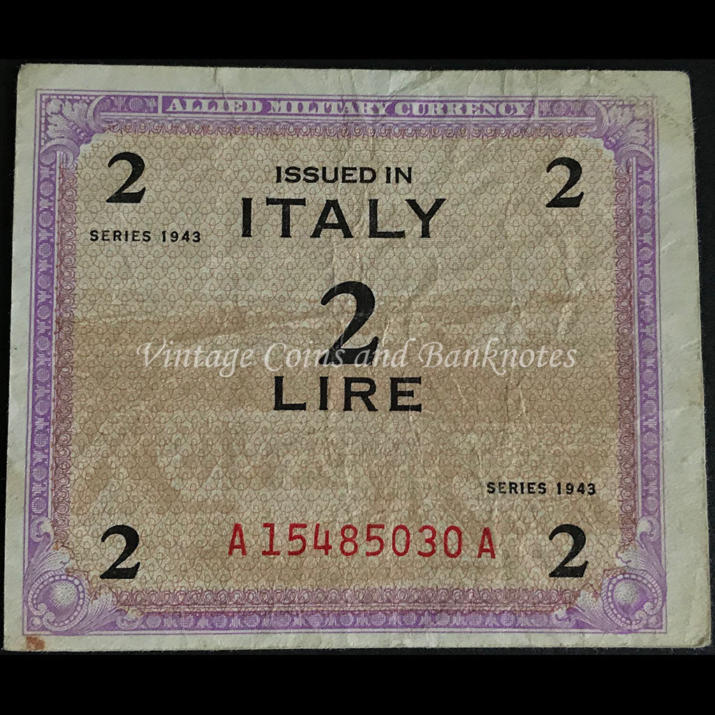 Allied Military Currency WWII - Italy 1943 2 Lire