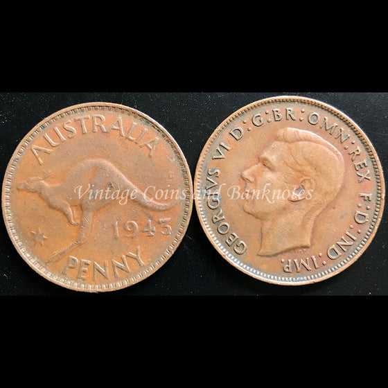 1943 Penny George VI - VF Melbourne Mint