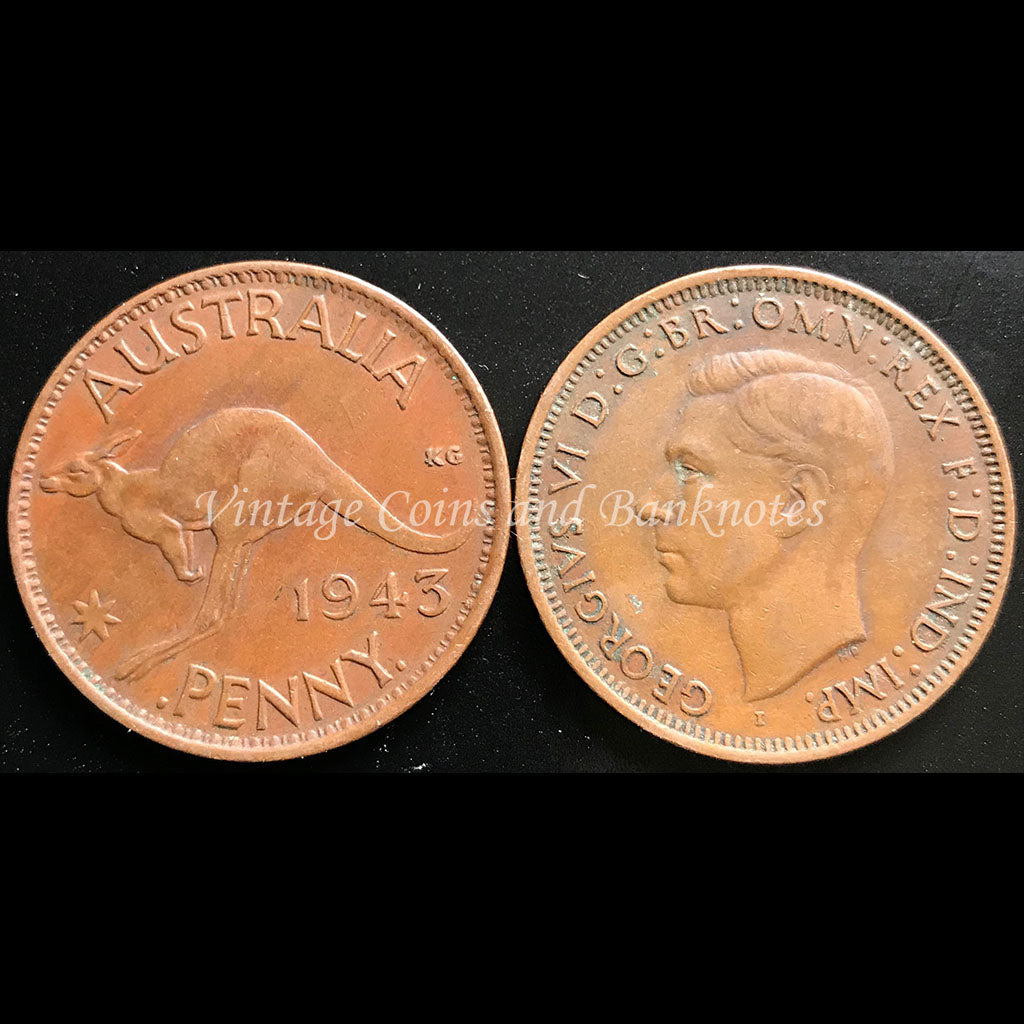 1943 Penny George VI - EF India Mint