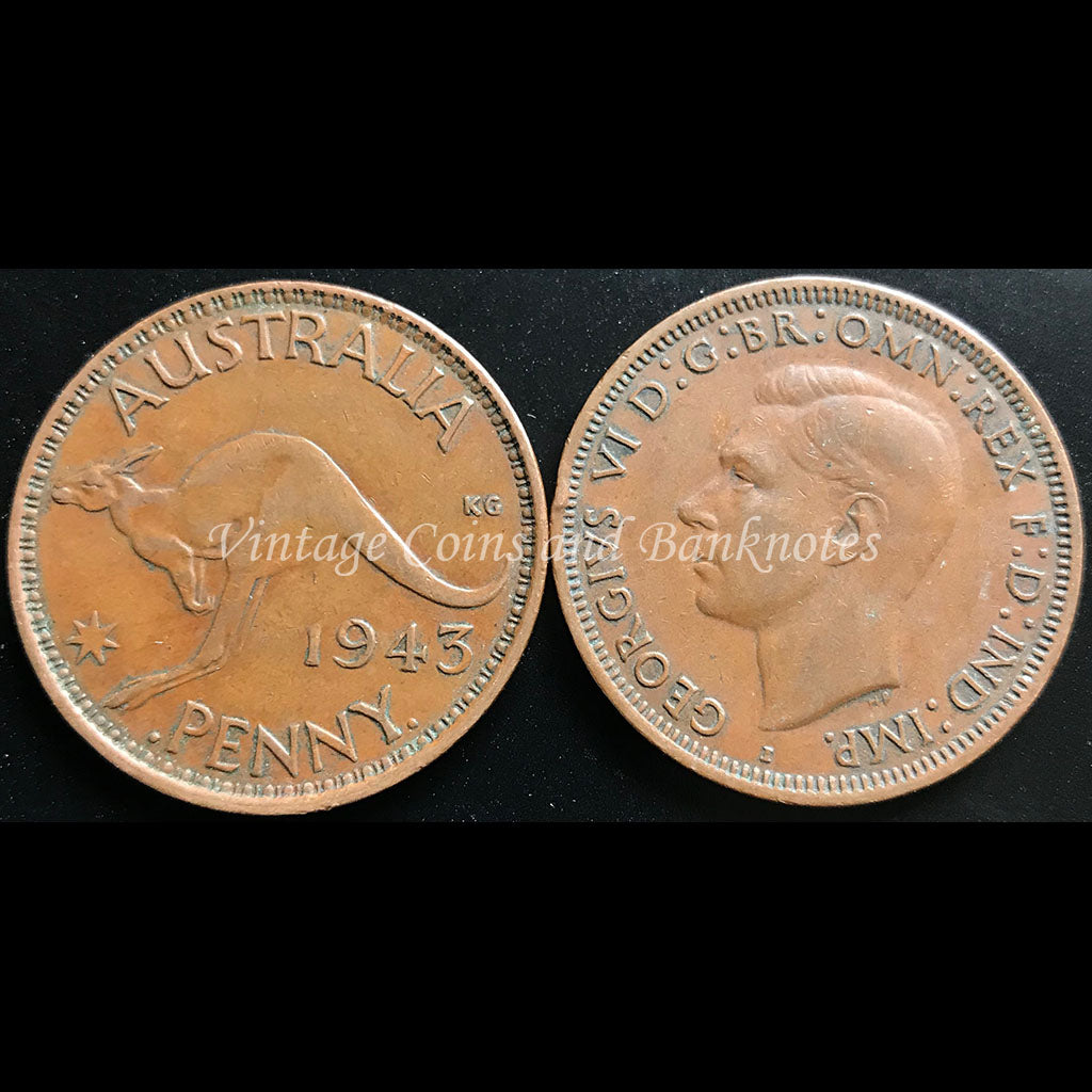 1943 Penny George VI - gVF India Mint