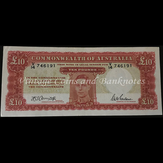 1943 Armitage McFarlane Ten Pounds George VI Last Prefix V14 EF