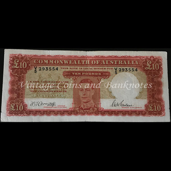 1943 Armitage McFarlane Ten Pounds George VI First Prefix V5 gFINE