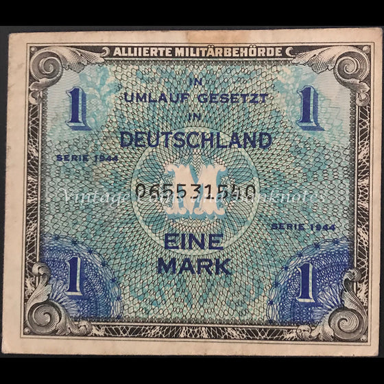 Allied Occupation Currency WWII - Germany 1944 1 Mark FINE