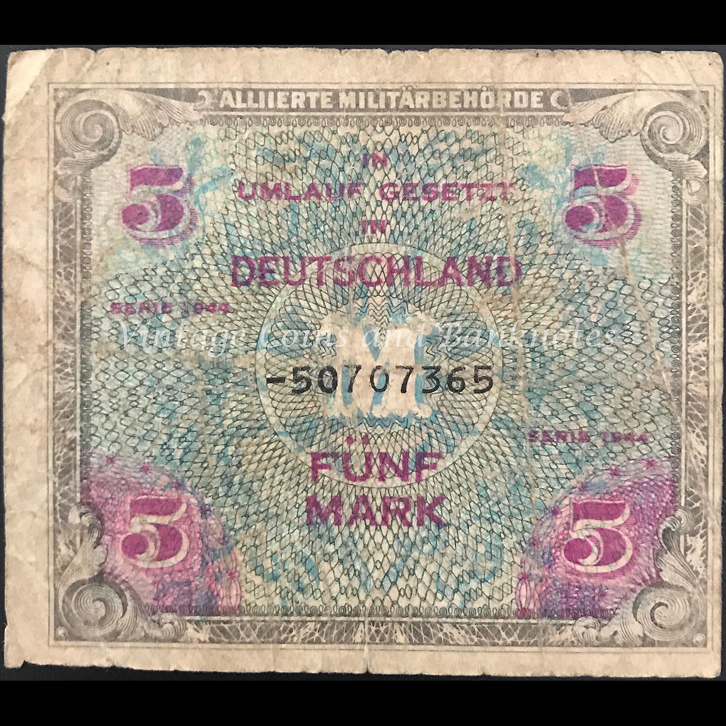 Allied Occupation Currency WWII - Germany 1944 5 Mark VG