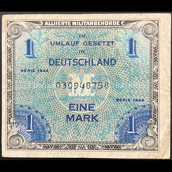 Allied Occupation Currency WWII - Germany 1944 1 Mark VF