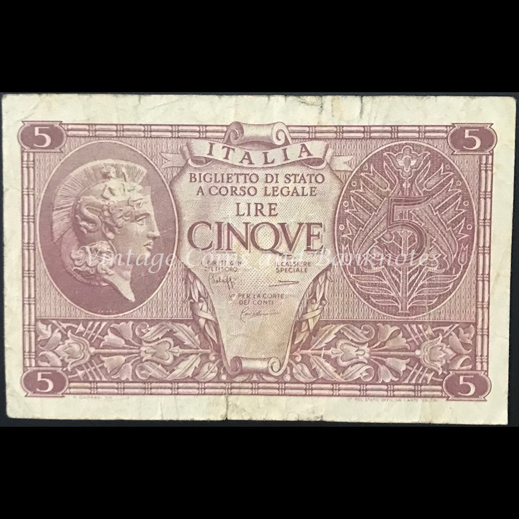 Italy 1944 5 Lire VG/aFINE
