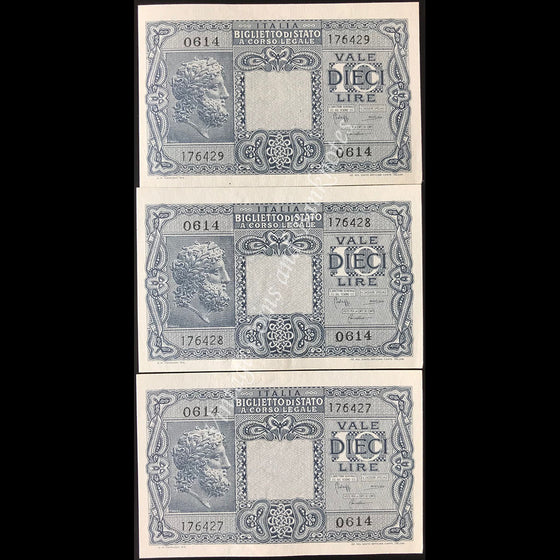 Italy 1944 10 Lire Consecutive Run of 3 UNC
