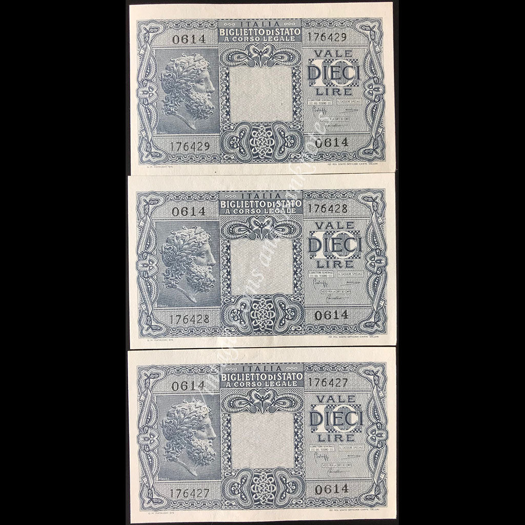 Italy 1944 10 Lire Consecutive Run of 3