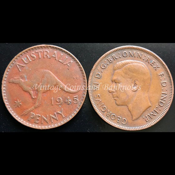 1945 Penny George VI - gVF Perth Mint