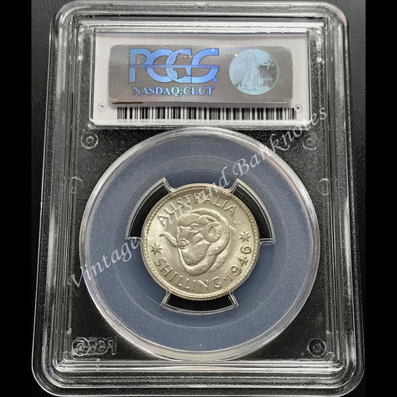 1946 Shilling George VI Melbourne PCGS Graded and Slabbed MS64 (ChUNC)
