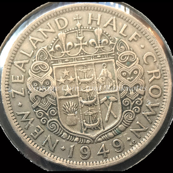 1949 New Zealand Half Crown George VI aVF