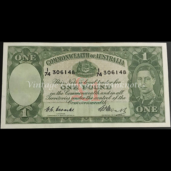 1949 Coombs Watt One Pound George VI aUNC