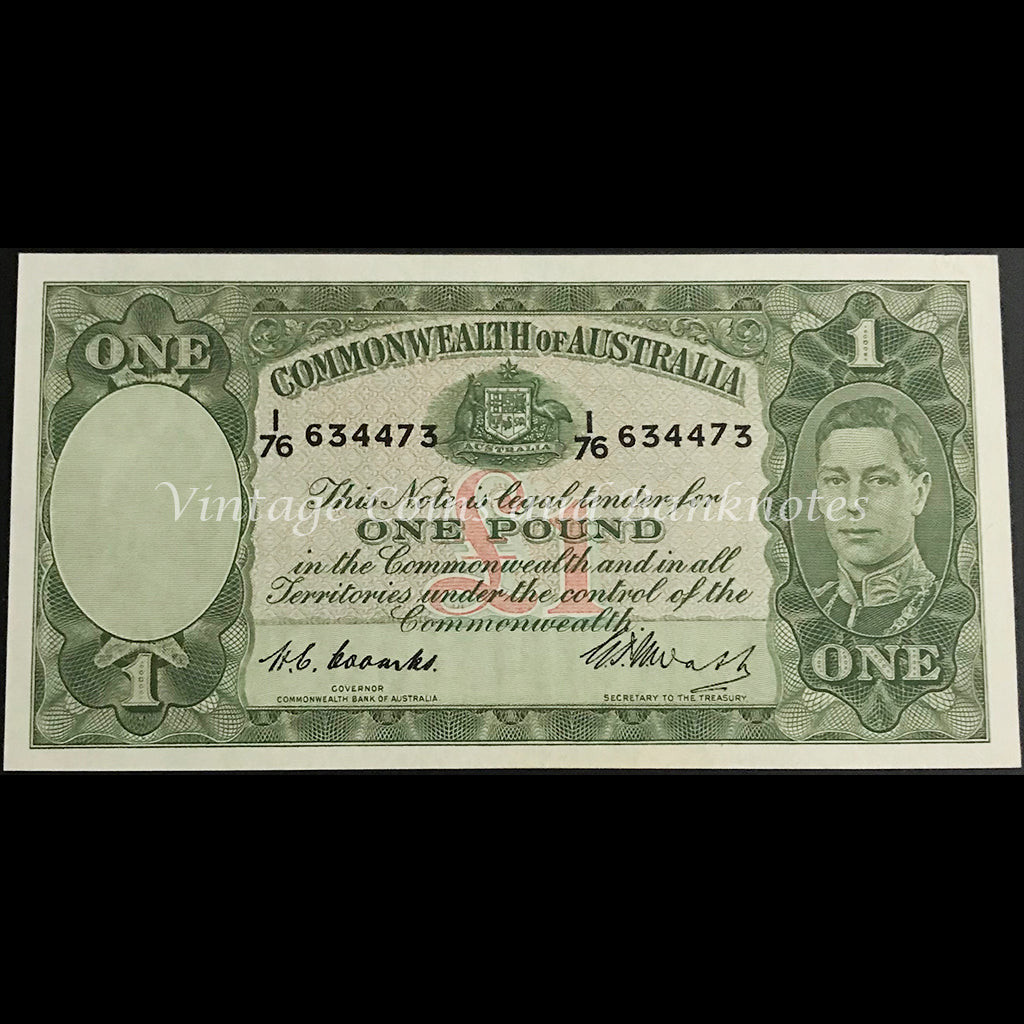 1949 Coombs Watt One Pound George VI UNC