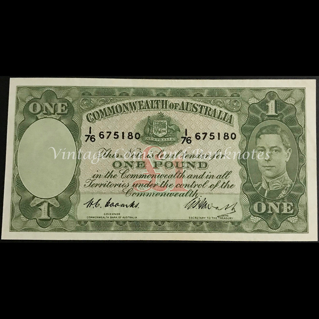 1949 Coombs Watt One Pound George VI aUNC/UNC