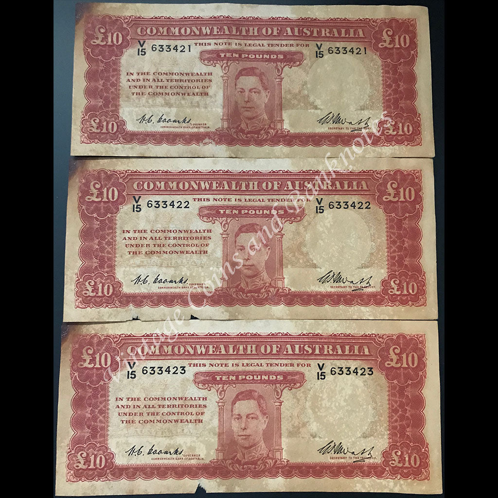 1949 Coombs Watt Ten Pounds First Prefix V15 Consecutive Run of 3 VG-FINE