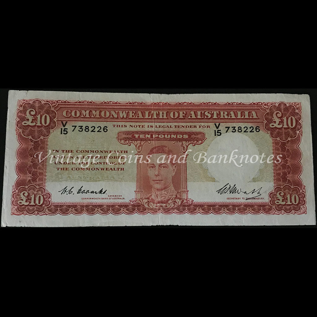 1949 Coombs Watt Ten Pounds George VI First Prefix V15 gFINE
