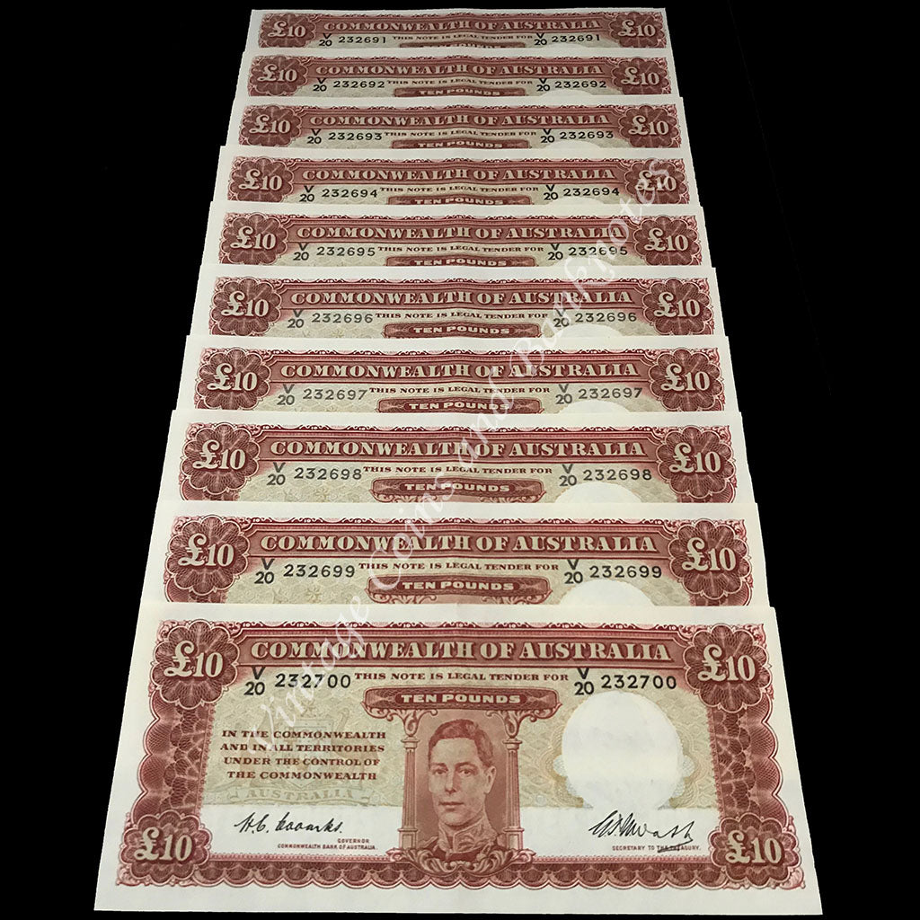 1949 Coombs Watt Ten Pounds George VI Consecutive Run of 10 aUNC/UNC Extremely RARE!