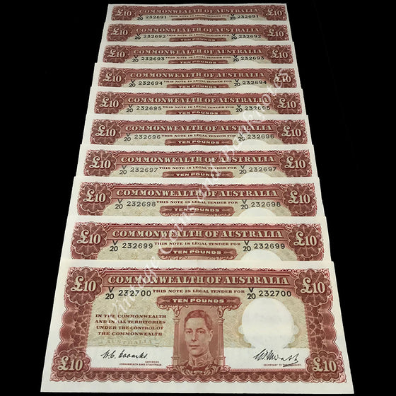 1949 Coombs Watt Ten Pounds George VI Consecutive Run of 10 UNC Extremely RARE