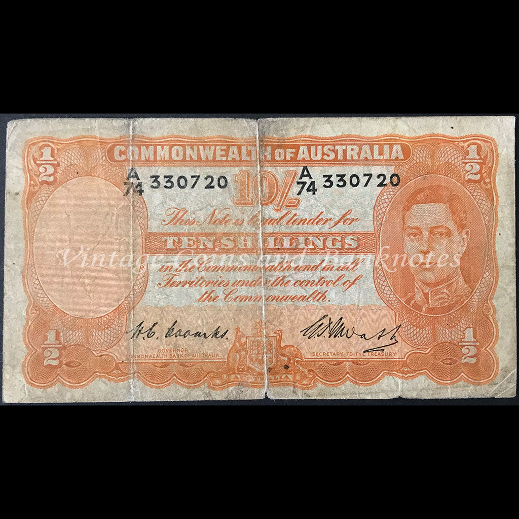 1949 Coombs Watt Ten Shillings Last Prefix A/74 George VI VG