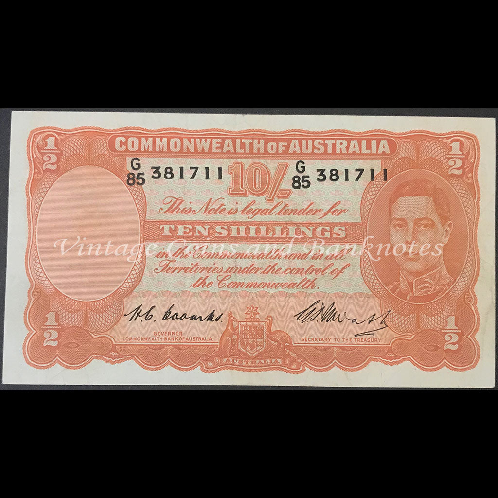 1949 Coombs Watt Ten Shillings First Prefix G/85 George VI gVF