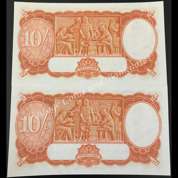 1949 Coombs Watt Ten Shillings Consecutive Pair UNC