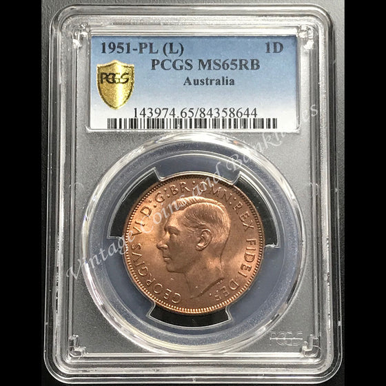1951 Penny George VI PCGS Graded MS65 (GEM)