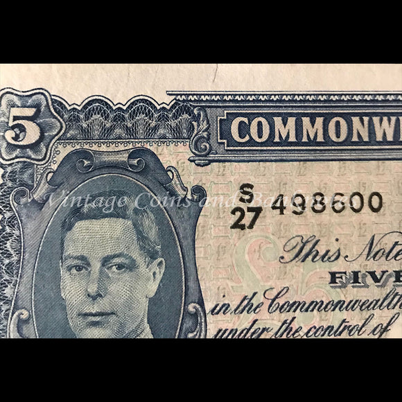 1952 Coombs Wilson Five Pounds George VI First Prefix S27 gFINE