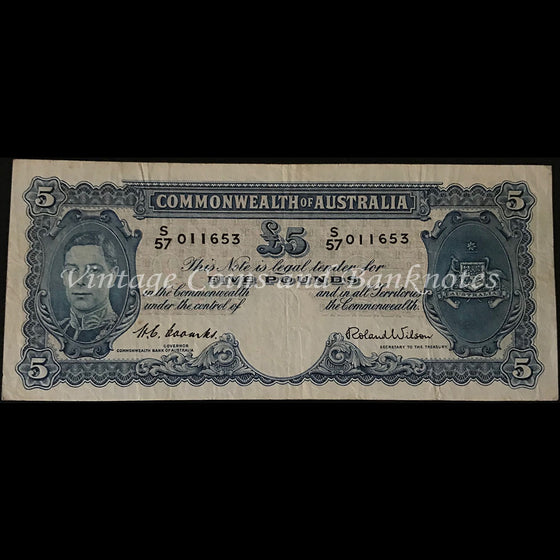 1952 Coombs Wilson Five Pounds George VI Last Prefix S57 VF