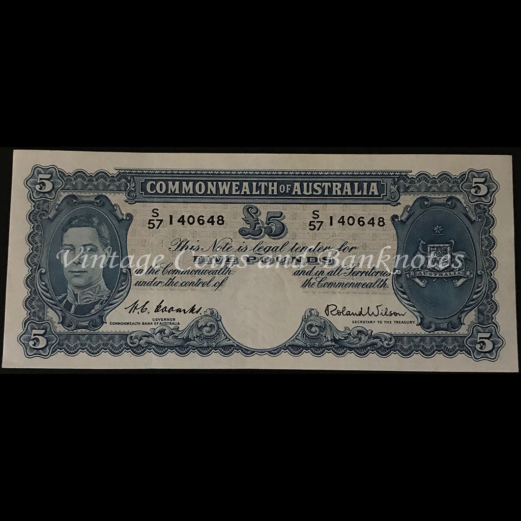 1952 Coombs Wilson Five Pounds George VI Last Prefix S57 gEF