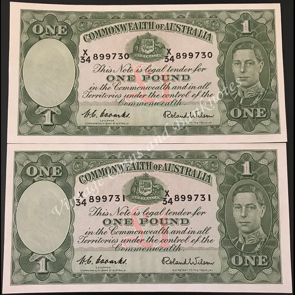 1952 Coombs Wilson One Pound Consecutive Pair UNC