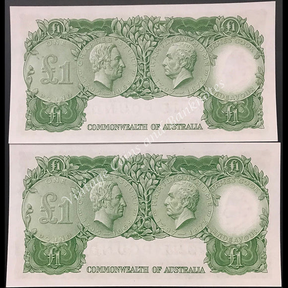 1953 Coombs Wilson One Pound Commonwealth Bank QEII Consecutive Pair UNC