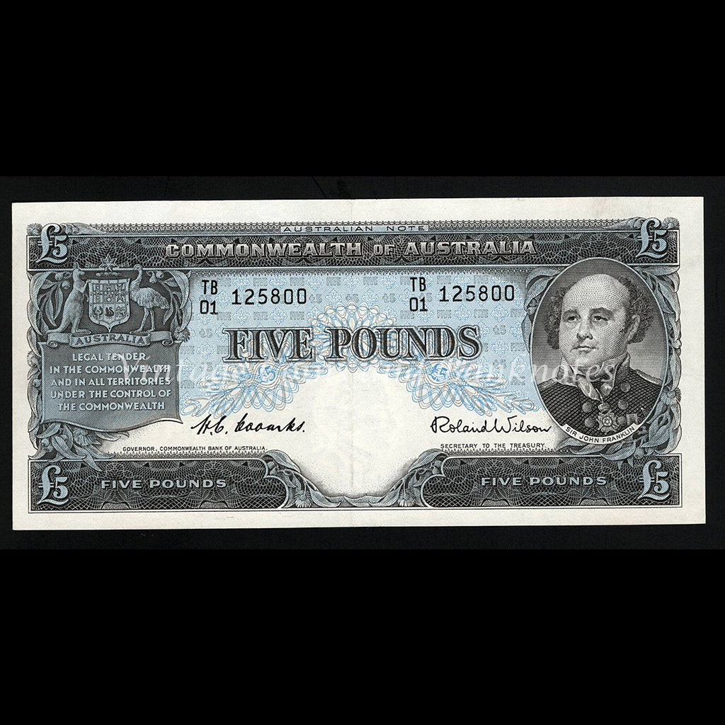 1954 Coombs Wilson Five Pounds Commonwealth Bank aUNC