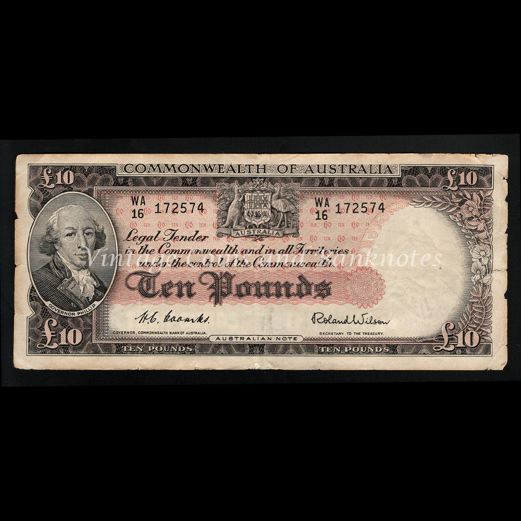 1954 Coombs Wilson Ten Pounds Commonwealth Bank of Australia aFINE