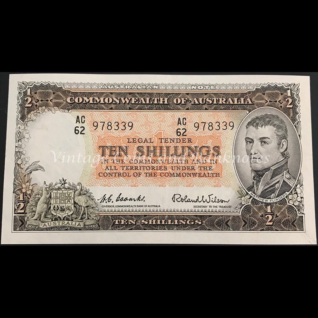 1954 Coombs Wilson Ten Shillings Commonwealth Bank aUNC