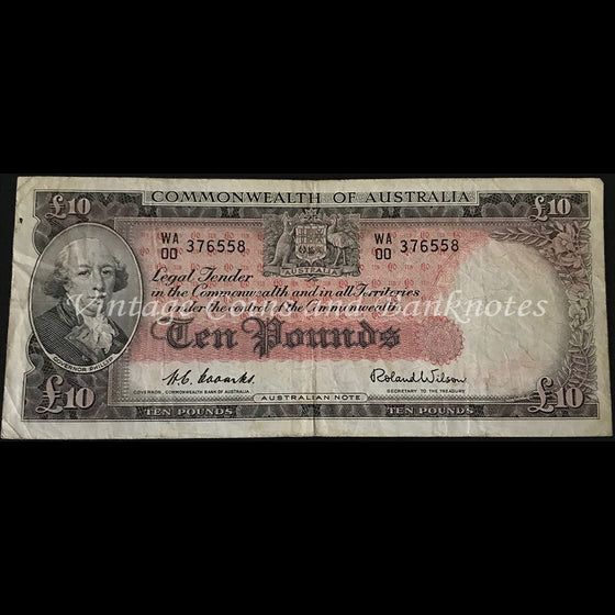 1954 Coombs Wilson Ten Pounds Commonwealth Bank First Prefix WA00 gFINE