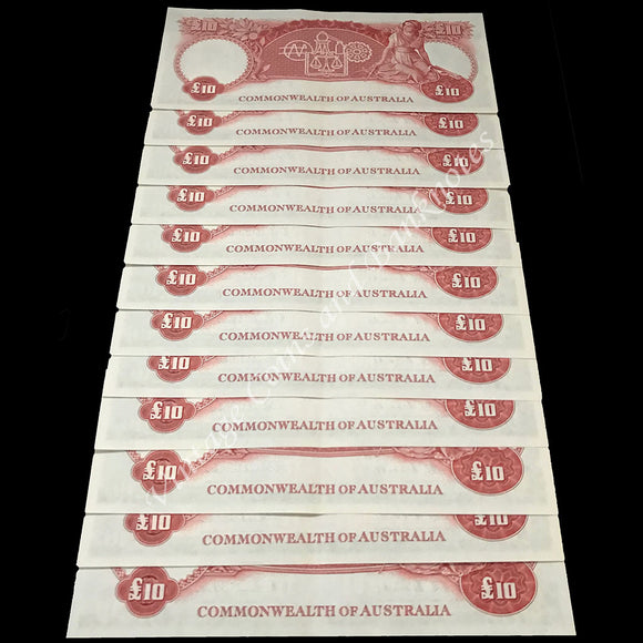 1954 Coombs Wilson Ten Pounds Commonwealth Bank Consecutive Run of 12 UNC Extremely RARE