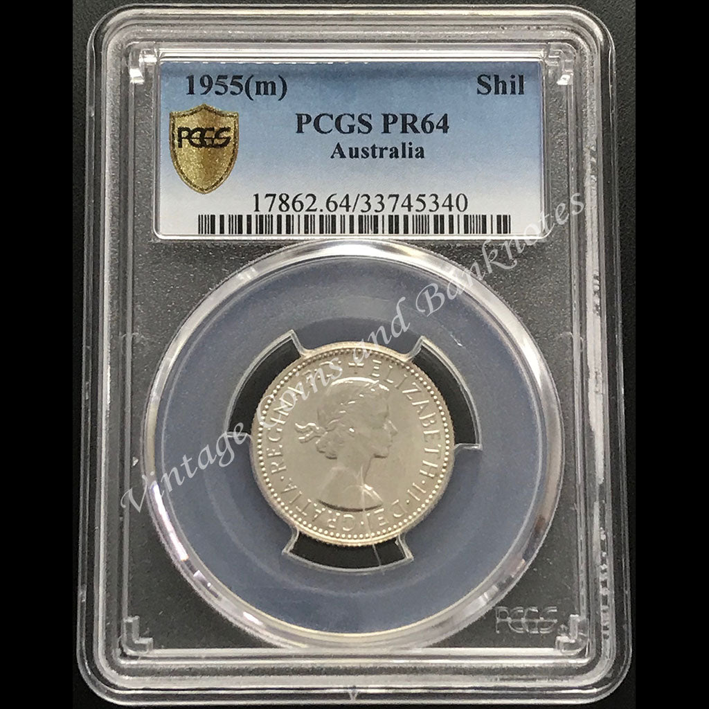 1955 Shilling Proof Elizabeth II PCGS Graded PR64