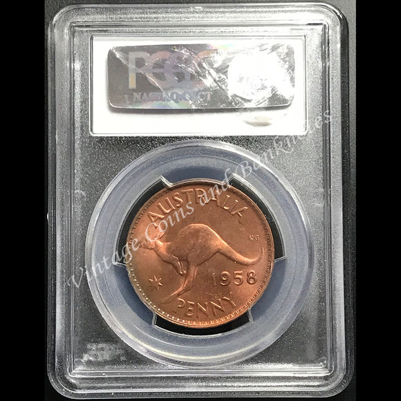 1958 Penny Elizabeth II PCGS Graded MS65 (GEM)