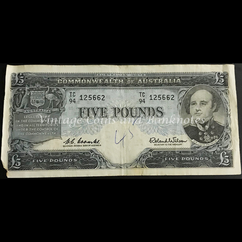1960 Coombs Wilson Five Pounds Reserve Bank FINE Short Snorter