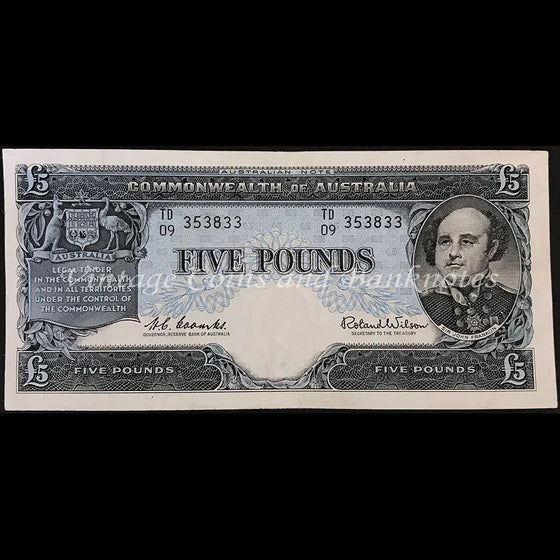 1960 Coombs Wilson Five Pounds Last Prefix TD/09 Reserve Bank EF