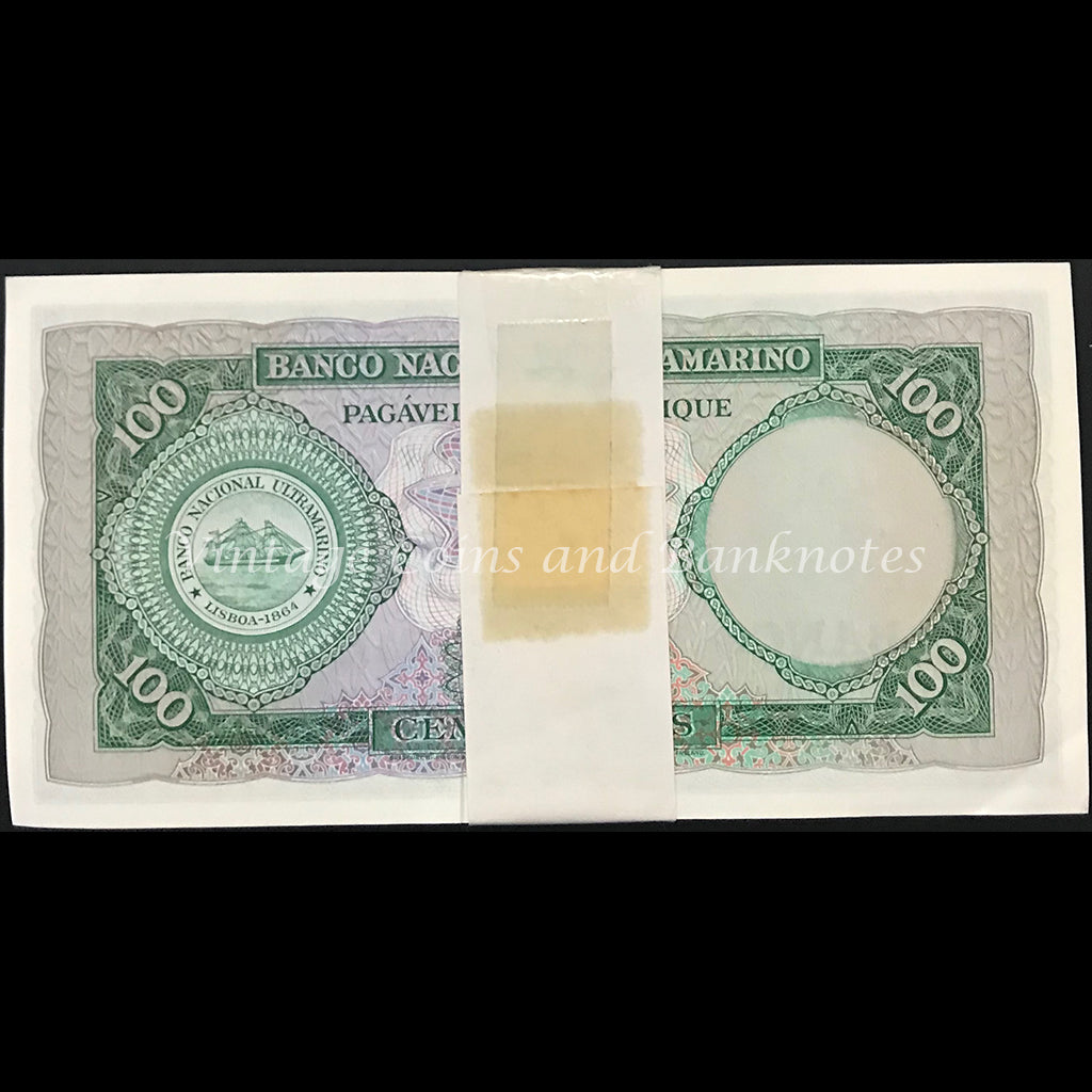 Mozambique 1961 100 Escudos Bundle of 100 Notes UNC
